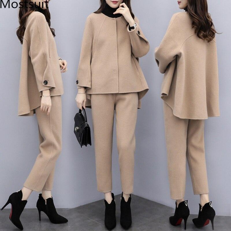 Camel laine deux pièces ensemble femmes hiver à manches longues hauts et pantalons pantalons ensembles costumes bureau 2 pièces ensemble femmes ensembles noir