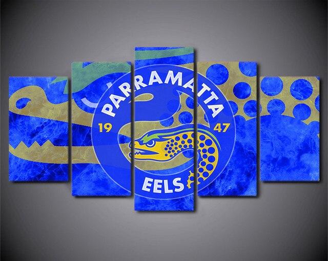 Hd Printed 5 Piece Wall Art Home Decor Logo Parramatta Eels Poster