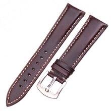 Vintage Smooth Genuine Leather Watchbands 18 19 20 21 22 24mm Black Dark Brown Bracelet Watch Band Strap Stainless Steel Buckle цена и фото