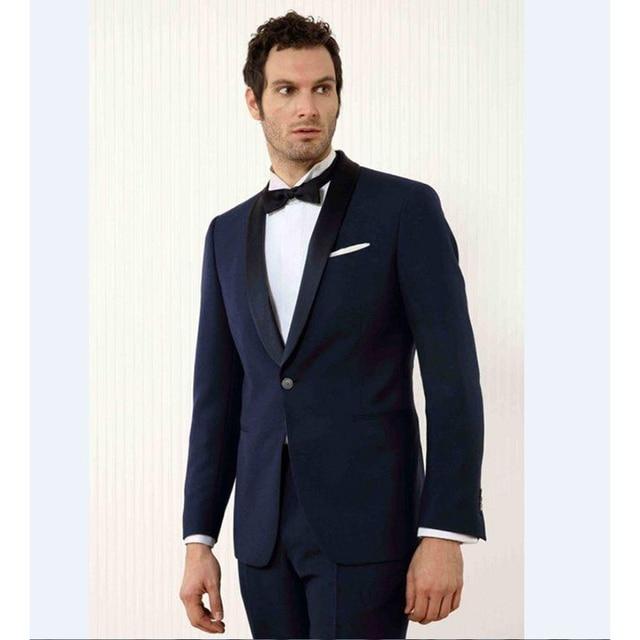 Custom Made Noir Revers Smokings de Marié Bleu Marine Hommes Costumes De  Mariage Meilleur Homme 2