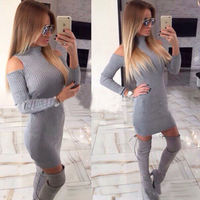 2017 Spring Autumn 2 Colors Women Dress Sexy Europe And America Style Gray Black Full Sleeve