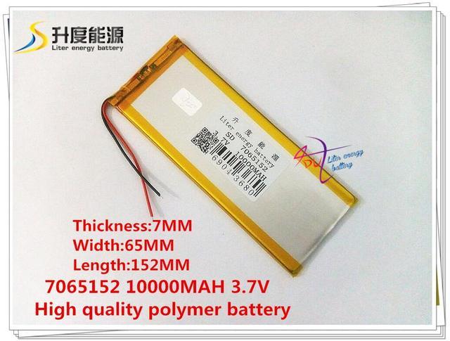 3.7 V 10000 mAH 7065152 (bateria de iões de lítio polímero) bateria Li-ion para celular banco; tablet pc, banco do poder, MP4