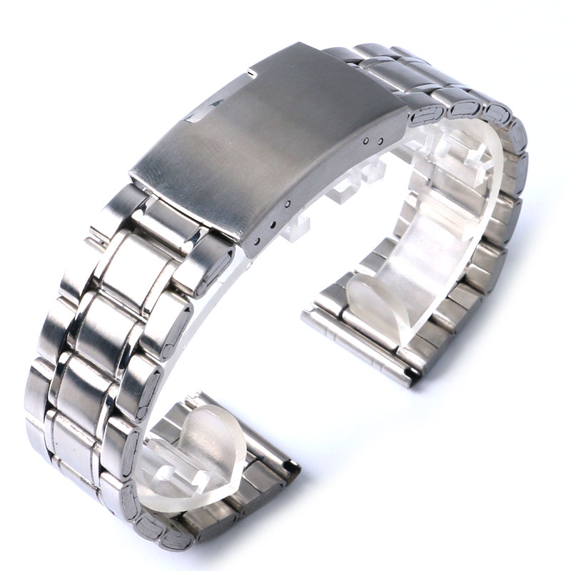 Silver Stainless Steel Bracelet Folding Buckle Replacement Strap + 2 Spring Bars Wrist Band for Men 20mm/22mm fresh style stainless steel bracelet for men