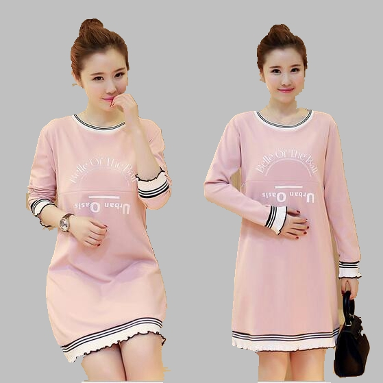 2016 New Korean Large size Round Neck Long sleeved Dress Casual font b Fashion b font