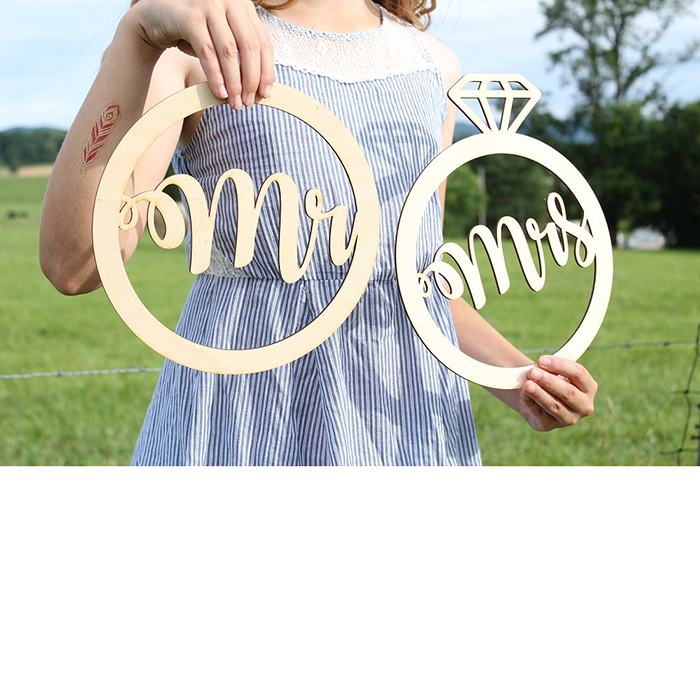 1 X Wood Diamond Sign Wedding Photo Booth Props MRMRS/Bride Groom Handheld Photo Booth Props Wedding Party Deco supply