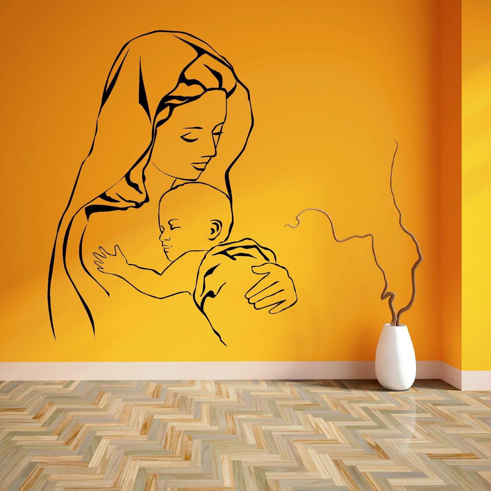 VIRGIN MARY A JESUS MOTHER BABY MADONNA DĚTSKÉ Vinyl nástěnné umění nálepka nálepka doprava zdarma