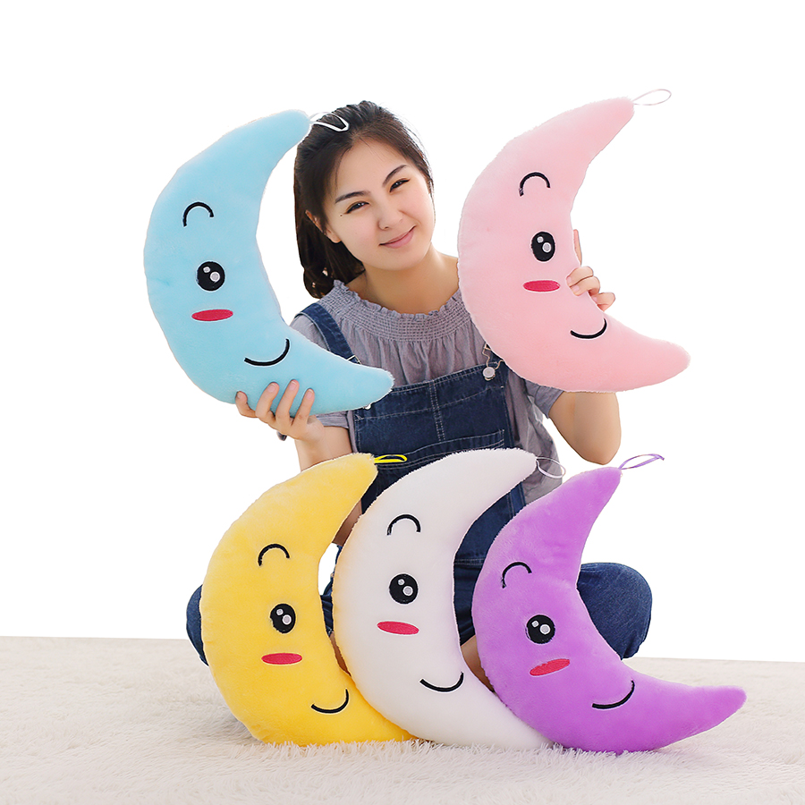 New Colorful Flashing Moon Plush Toys Sleep Luminous Led Light Cushion Pillow Plush Moon Doll Birthday Gifts For Kids YYT219 colorful led plush toys with music and sound light emitting pillow high quality dog