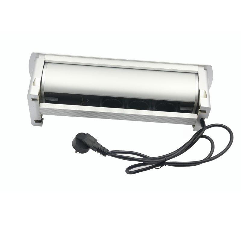 Rotation de retournement électrique automatique prise 180 degrés 3 prises de courant EU + Ports de chargeur USB - 4