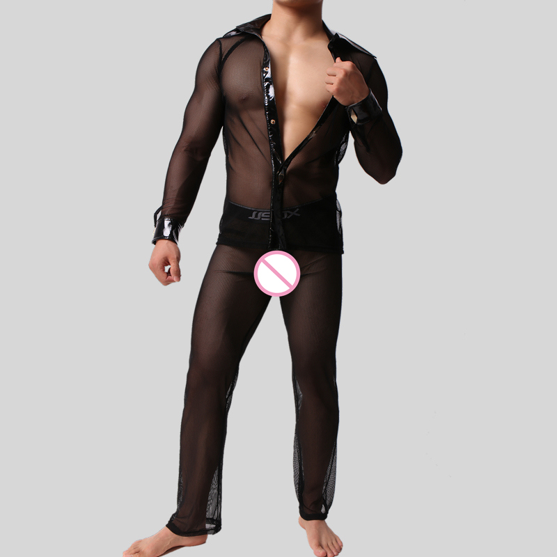 Hot <font><b>Men's</b></font> Sexy Underwear Suit <font><b>Mesh</b></font> Leather <font><b>Long</b></font> <font><b>Shirt</b></font> Undershirt <font><b>Mesh</b></font> <font><b>Long</b></font> pants Breathable Cool <font><b>Mens</b></font> Undershirt Dropshipping image