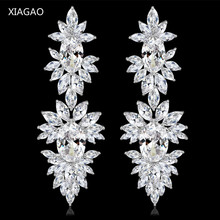 XIAGAO Luxury White Leave Shape Dangle White Gold-color Earrings with Tiny AAA Cubic Zirconia Stone Jewelry for Wedding Women