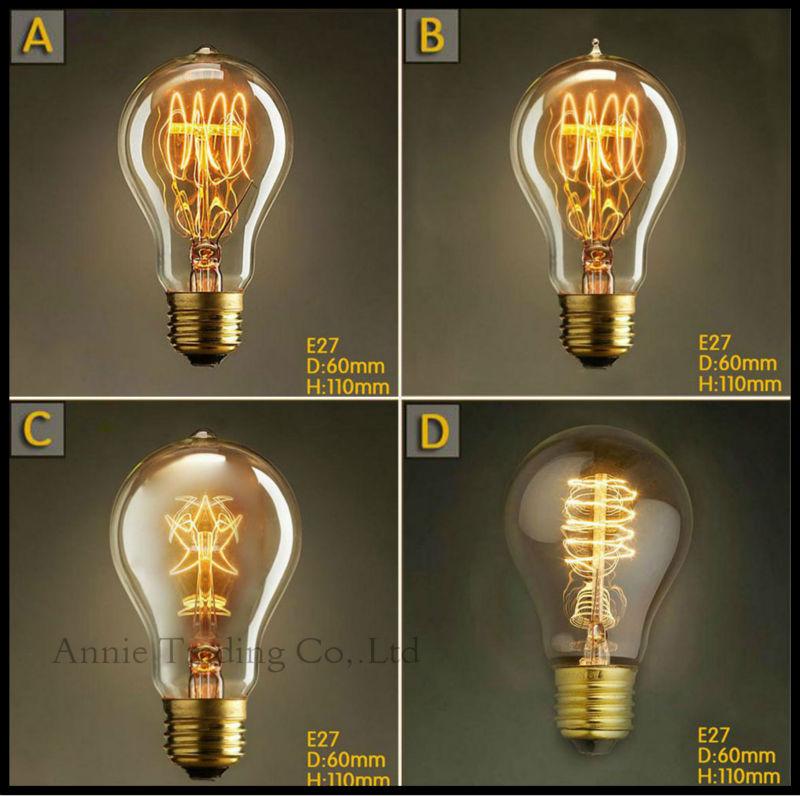 220V 40W E27 Edison font b Bulb b font A19 vintage carbon font b bulbs b