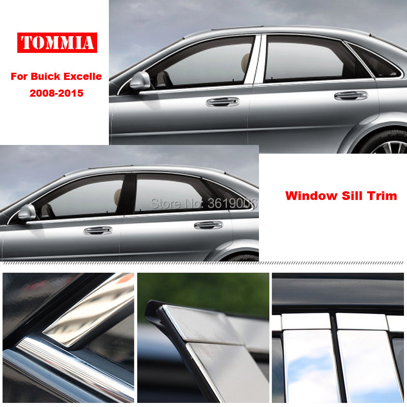 TOMMIA Full Window Middle Pillar Molding Sill Trim Chromium Styling Strips Stainless Steel For Buick Excelle 08-15