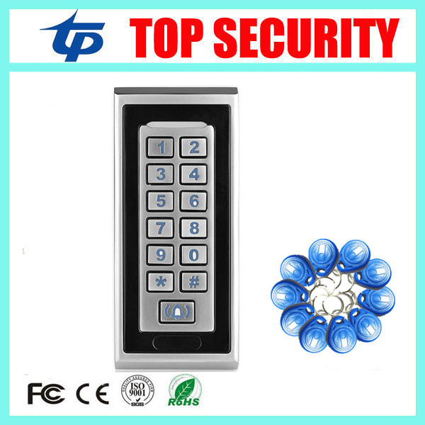 IP65 waterproof door access control system 125KHZ RFID card led keypad standalone access controller 8000 users card reader rfid ip65 waterproof access control touch metal keypad standalone 125khz card reader for door access control system 8000 users