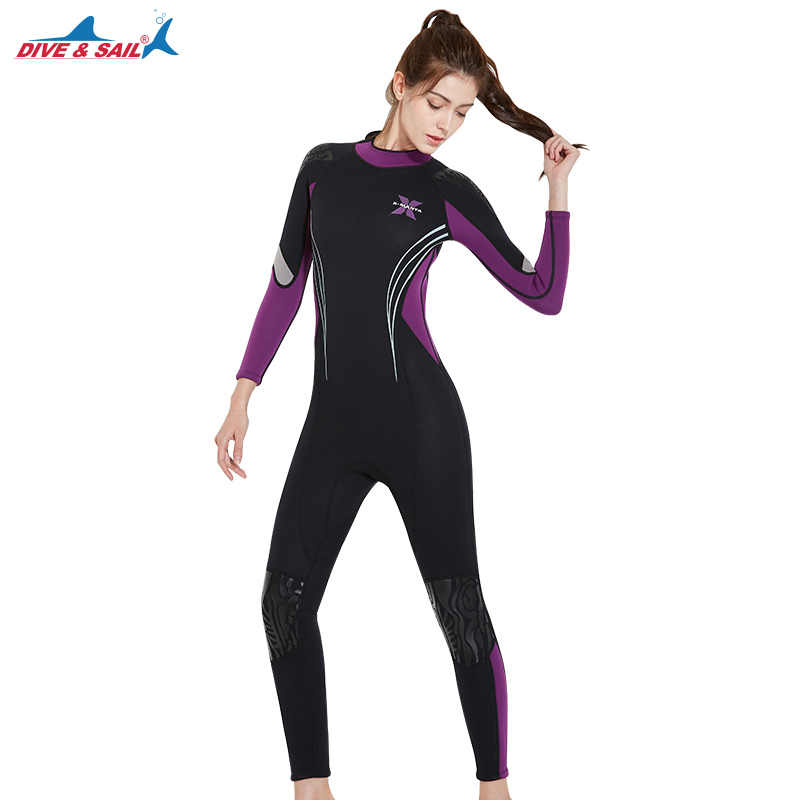 c4a108f1ae ... 3MM Women Professional Scuba Neoprene One-Piece Full Body Diving Suits  Female Surfing Snorkeling Spearfishing ...