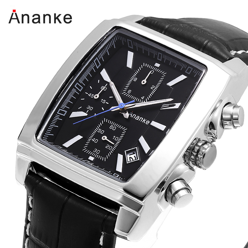 ANANKE Watch Men Top Luxury Brand Quartz Watches Casual Leather Band Watches Clock Male Business Wristwatch Gentleman Gift Squar цена