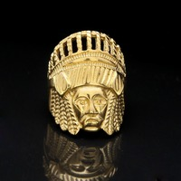 Indian Chief Ring 18K Yellow Gold Plated Punk Cool Biker Motorcycle Fashion Men S Ring Size