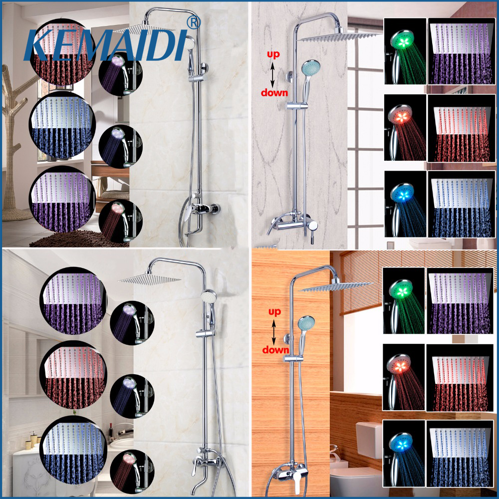KEMAIDI Good Quality Four Choice Wall Mounted Rain Shower Set Luxury Square Shower Head LED Shower Set with Hand Shower Spray wall mounted rain shower set luxury square shower head 8 shower set with hand shower and control valve
