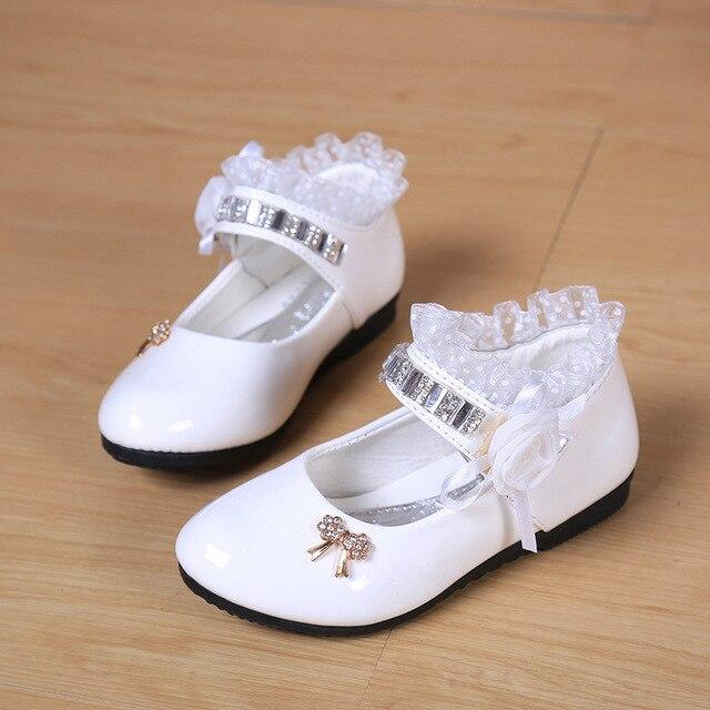 Encaje zapatos De baile De cuero muchachas De los cabritos De la princesa flor zapatos De boda Sapatos De Salto Alto blanco De la escuela las niñas TX176