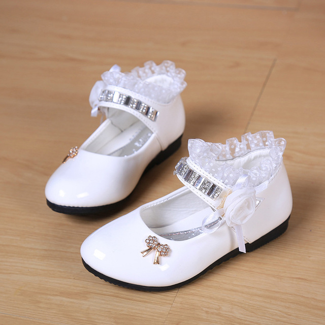 Lace Leather Dance Shoes Kids Girls Flower Princess Wedding Shoes Sapatos  De Salto Alto White Girls