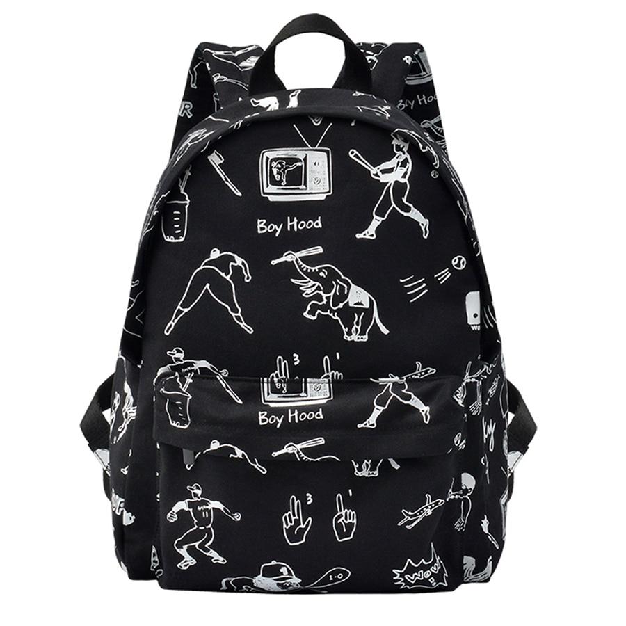 YIZISTORE canvas school traveling backpacks for girls and boys in BOYHOOD series [FUN KIK]