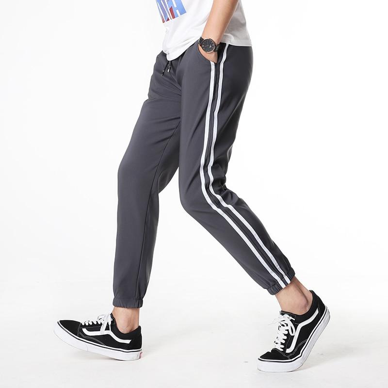 Trousers Pantalon Sweatpant Joggers Casual-Pants Bottoms Black White Striped Running