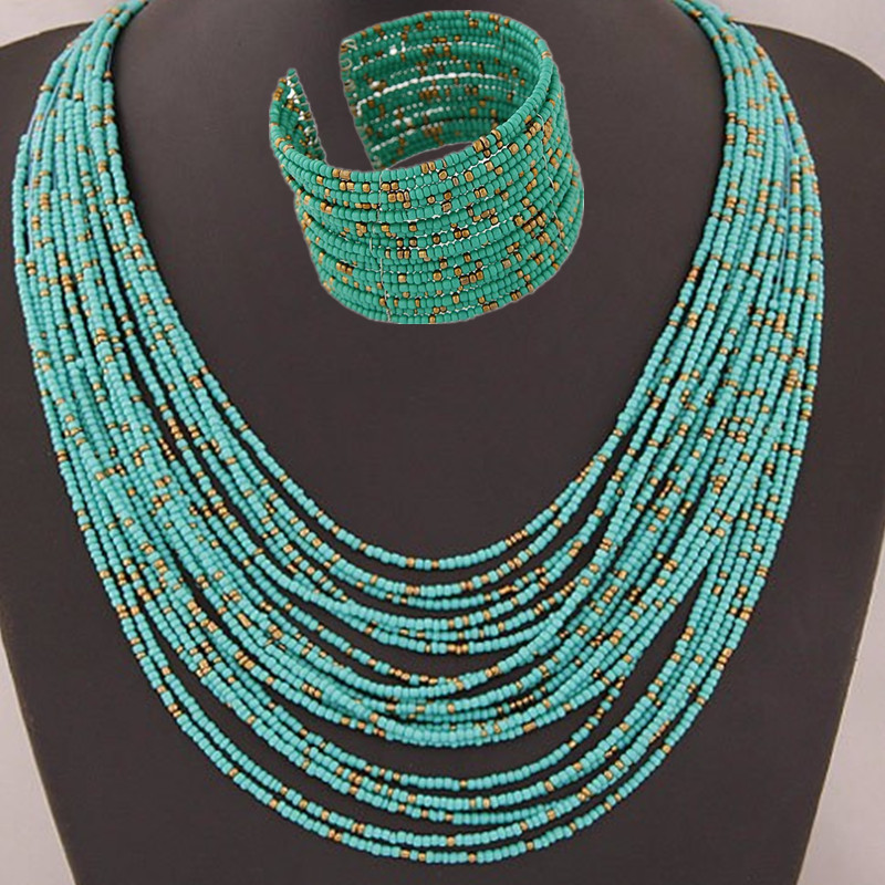 DIEZI African Acrylic Beads Jewelry Sets Bohemia Necklaces Bangles Women Fashion Statement Multilayer Necklace New Jewelry Set