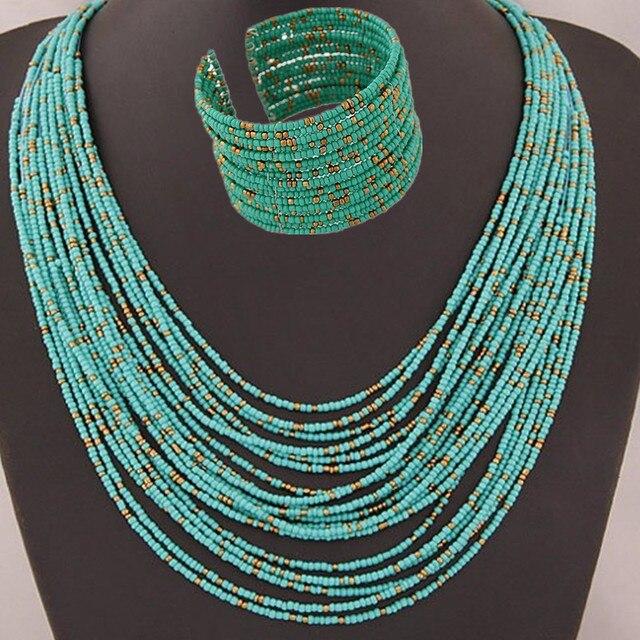 DIEZI אפריקאי אקריליק חרוזים תכשיטי סטי בוהמיה שרשראות צמידי נשים אופנה רב שכבתי שרשרת חדש תכשיטי סט