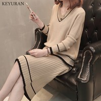 Striped 2 PCS Woman Autumn Knitting Set V Neck Casual Pullover Sweater + Skirt Suit Female Causal Loose Comfortable Outfit