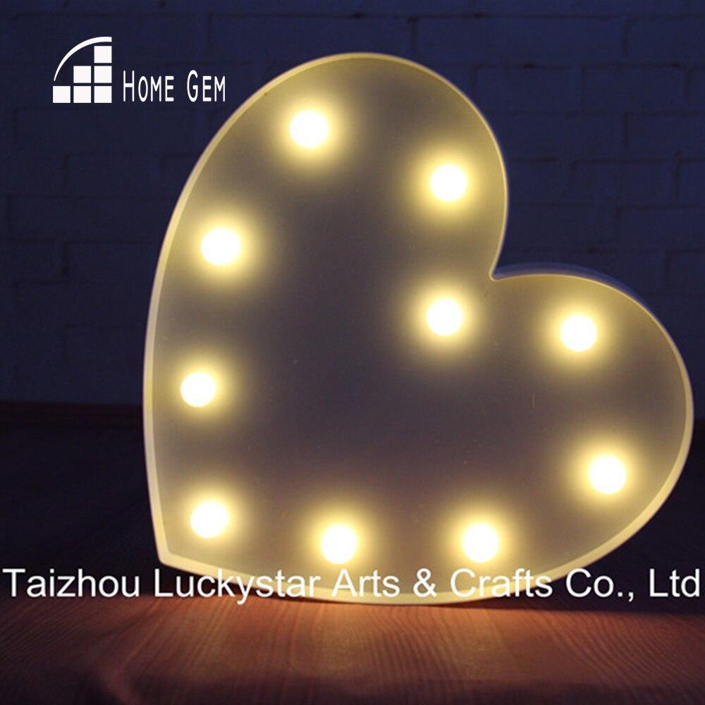 """13 """"valkoinen sydän LED muovi marquee merkki valo UP neon yövalo ystävänpäivä lahja sisätiloissa asuntolassa ilmainen toimitus"""