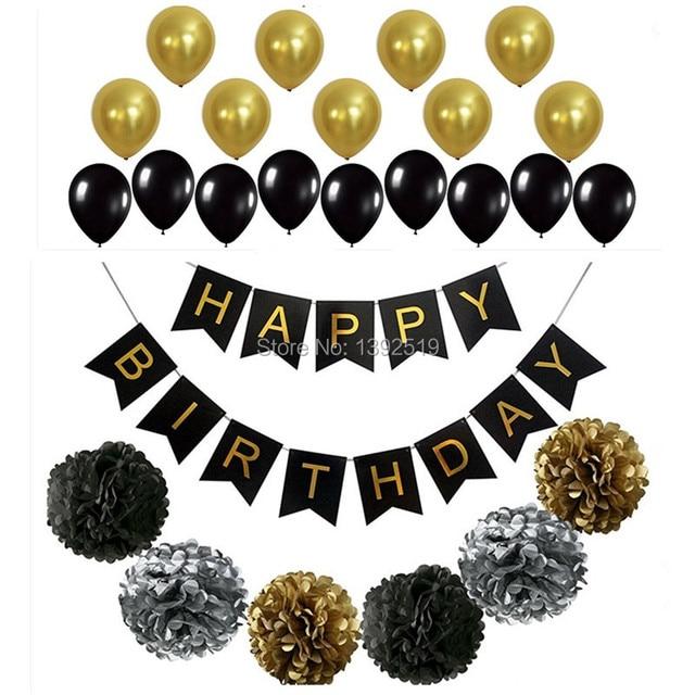 Perfect zwart goud decoratie set gelukkige verjaardag for Goud zwart versiering
