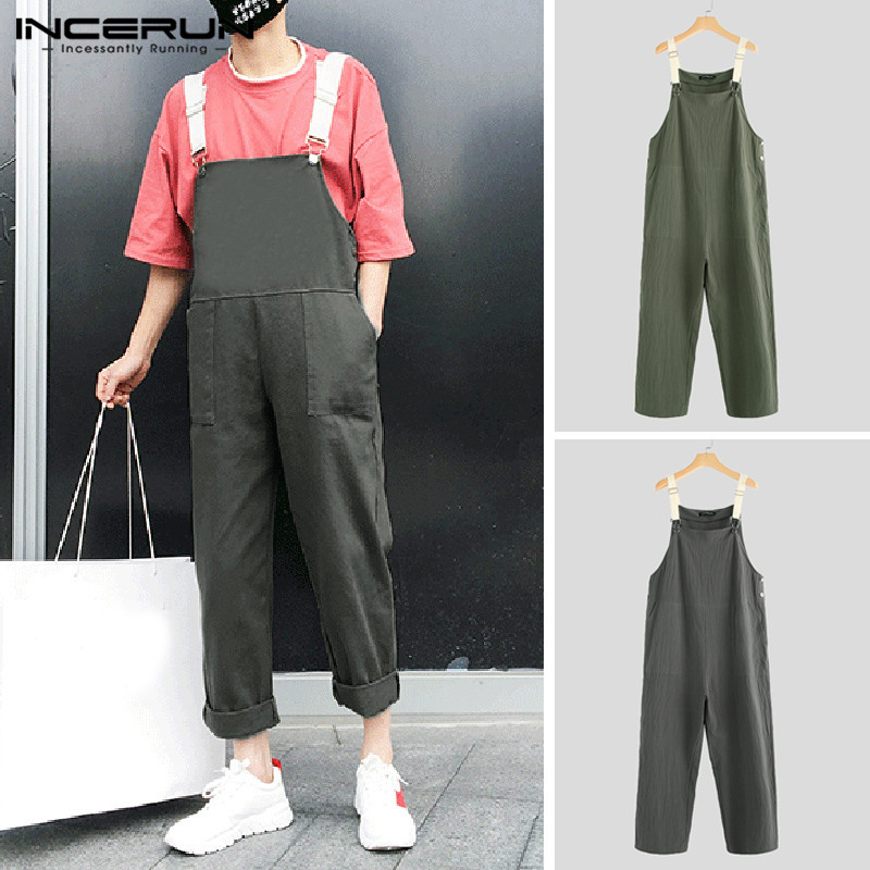 INCERUN Stylish Casual Rompers Men Cotton Hip-hop Solid Pockets Pants Loose Chic Straps Overalls Streetwear Men Jumpsuits 2019