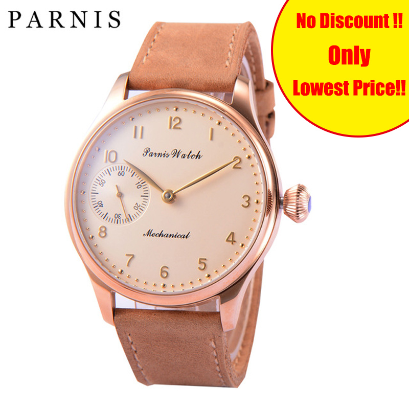 Casual Parnis 44mm Men's Mechanical Watch Hand Wind Rose Gold Case Chronograph Watches Leather Wrist Watches Luxury Watch Brand