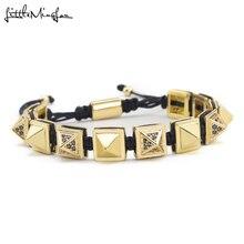 Luxury zirconia Pyramid charm bracelet Square Beads Connector Braiding Macrame bracelets men Bracelet & Bangle for men jewelry fashion stingray leather macrame bracelets men s love genuine stingray leather square bead charm bracelet for men luxury style