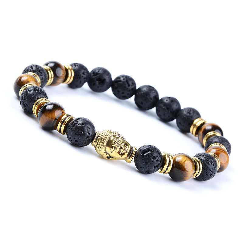 Antique silver-plated Buddha head amulet, lava onyx, natural stone beads bracelet, men's suit