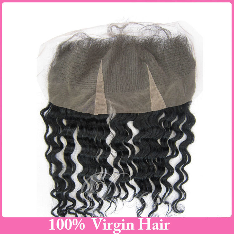 7A Virgin Hair Deep Wave Lace Frontal 13X4 Brazilian Deep Wave  Lace Frontal Closure With Bleached Knot Baby Hair Free Part