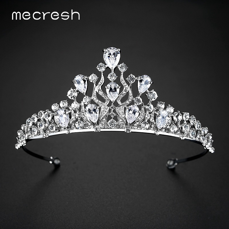 Mecresh 2017 European Waterdrop CZ Crown and Tiara For Women Classic Crystal Wedding Hair Accessories Prom Jewelry MHG076
