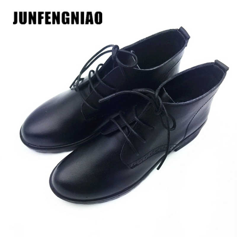 JUNFENGNIAO vrouwen Schoenen Echt Leer Rubber Flats Loafers Lace-Up Sapato Feminino Ugs Mocassin Oxford Casual Naked DCGB6251
