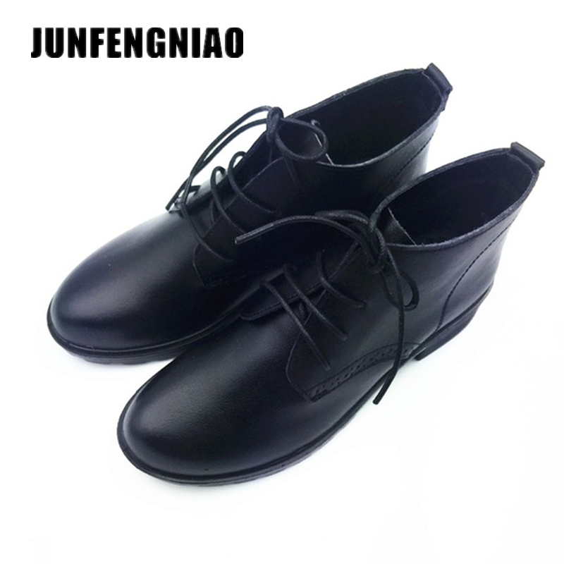 JUNFENGNIAO Damesko Ekte Lær Gummi Flats Loafers Lace Up Sapato Feminino Ugger Moccasin Oxford Casual Naked DCGB6251
