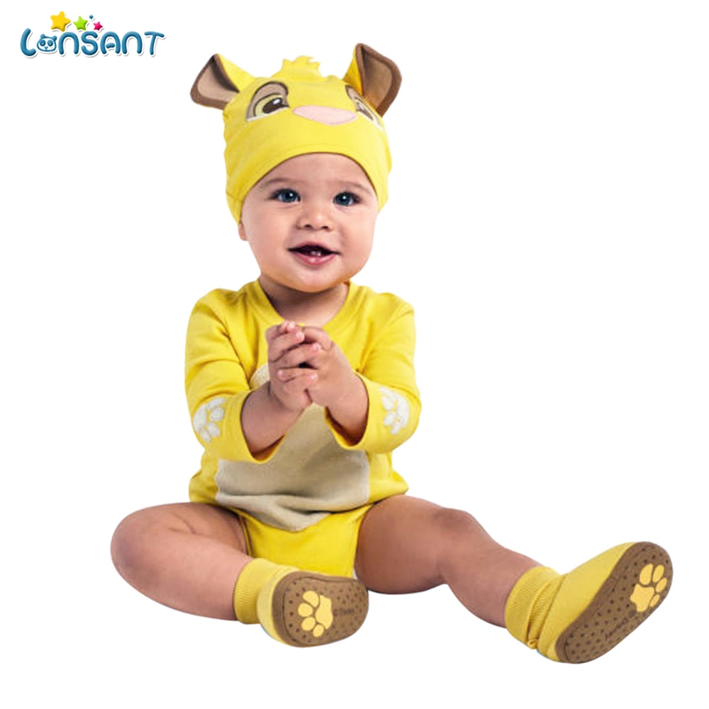 LONSANT Cute Baby Clothing Newborn Jumpsuits Infant Baby Boy Girl Cartoon Embroidery Romper+Hat Outfits Long Sleeve Baby Costume