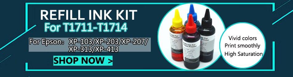 T1711 Refillable патрон чернил для принтера Epson Expression Home XP-103 XP-203 XP-207 XP-313 XP-413 XP-406 XP-306 принтер с ARC чипы