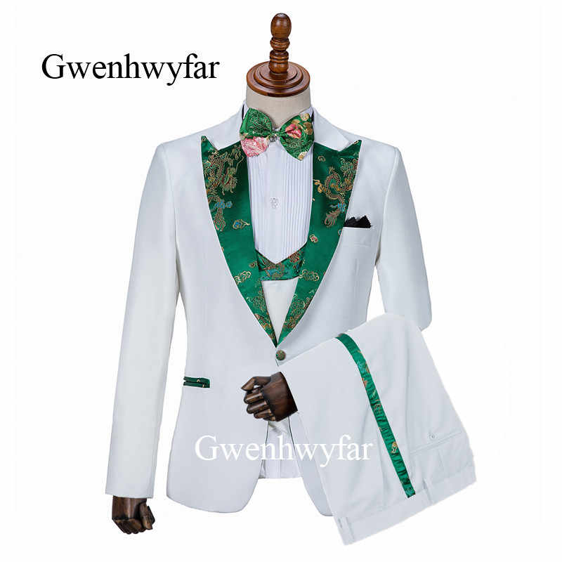 Gwenhwyfar Side Pants Decorated Fashion Men Suits 2019 Brand New Peak Lapel  Groom Tuxedos Men's Wedding Prom Suits 3 Pieces