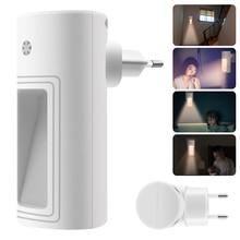 BORUiT Plug in Sensor LED Night Light Warm White Night Lamp for Bedroom Baby Room Sensor Corridor Stair Light EU/US/UK Plug