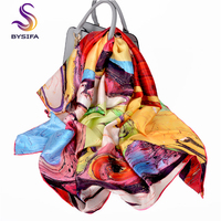 [BYSIF] Women Square Scarves New Luxury 100% Pure Silk Large Silk Scarf Shawl Winter Top Grade Brand Crepe Satin Scarves 110cm