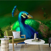 Wallpapers Youman 3d Photo Wall Paper Custom Painting Peony Peacock Wallpaper Environment Friendly TV Background Living Room