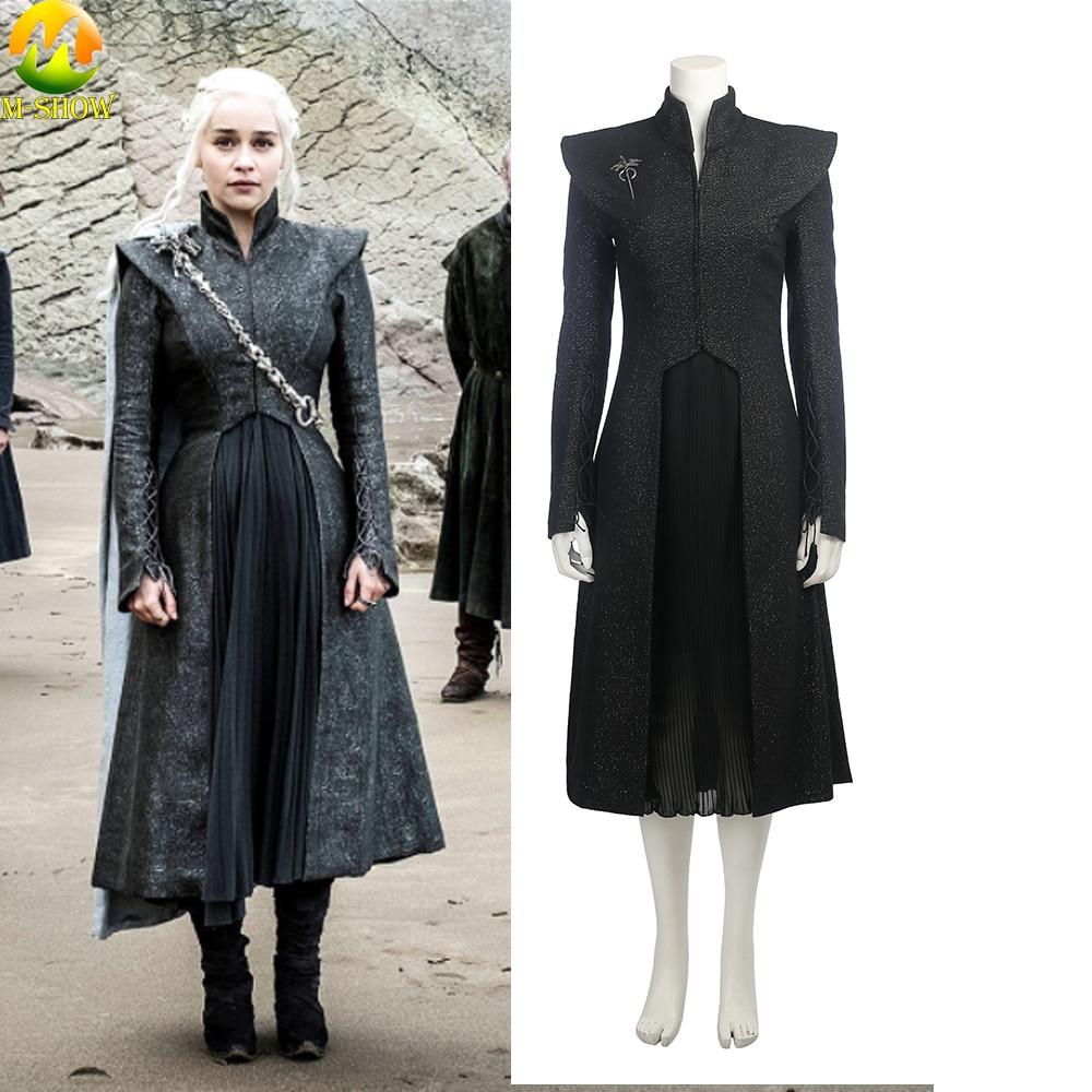 Game of Thrones Season 7 Mother of Dragons Cosplay Costume Daenerys Targaryen Costumes Women Dress Coat For Halloween