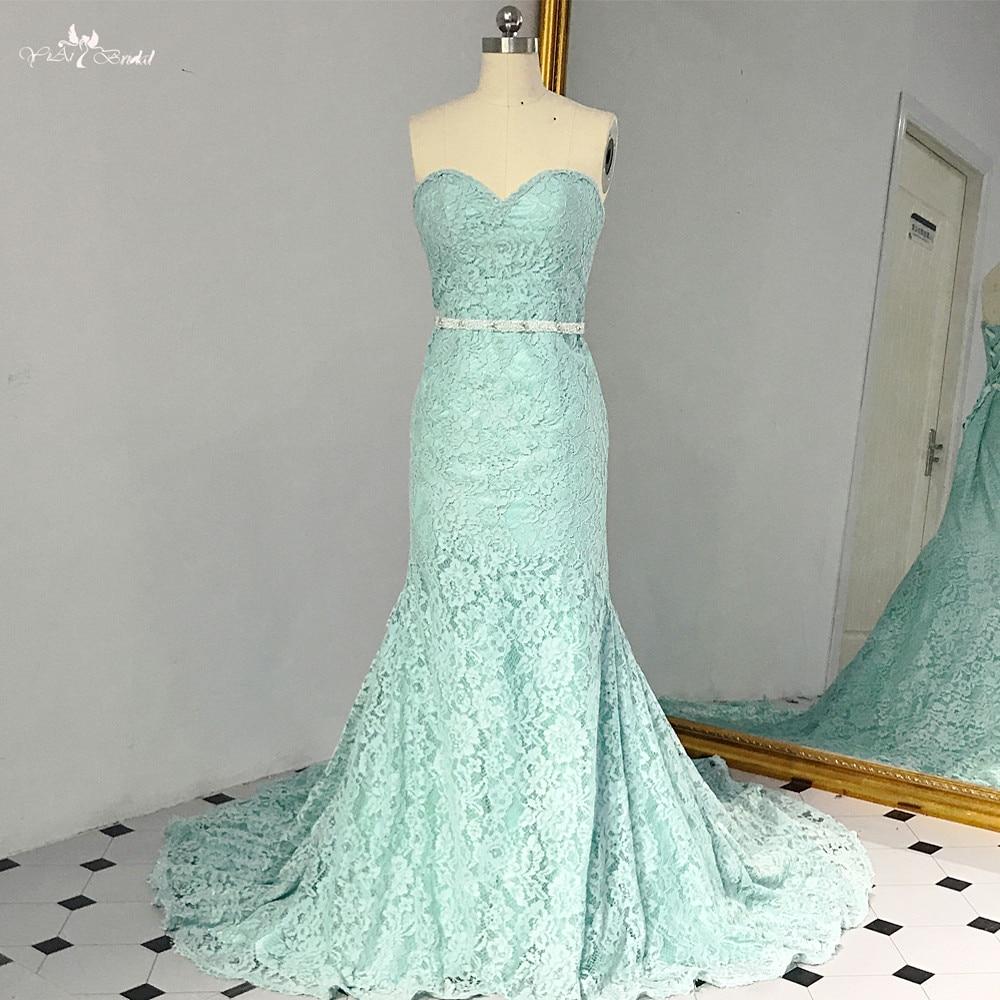 RSE887 Long Mint Green Lace Mermaid Prom Dress 2018