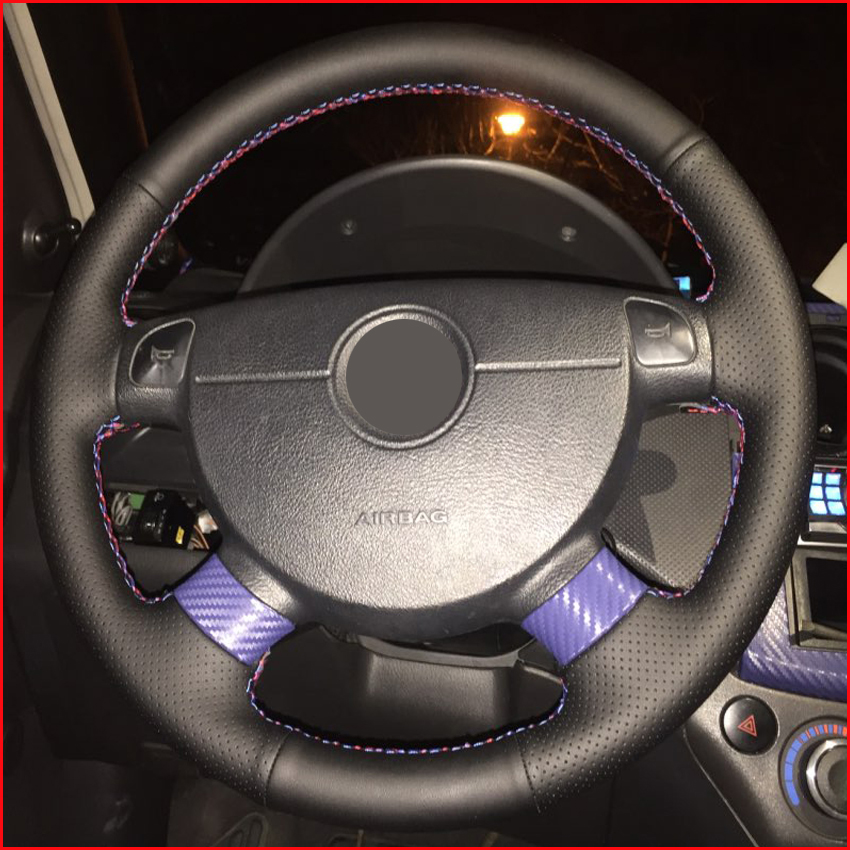 Black Artificial Leather Steering Wheel Cover For Chevrolet Lova