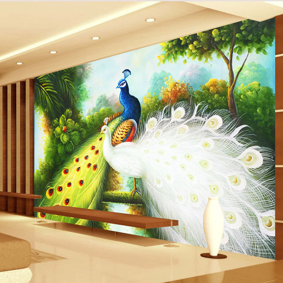 custom any size 3d photo wallpaper peacock background home decor wall painting modern living. Black Bedroom Furniture Sets. Home Design Ideas