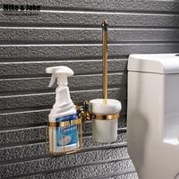 Luxury golden plated finish toilet brush holder with shelf household bathroom brush holder toilet brush kit bathroom accessories