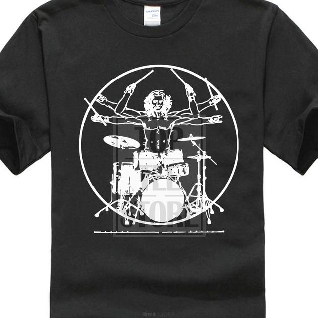09c0859b Cotton T Shirt Fashion Da Vinci Drums T Shirts Rock Drummer Vitruvian Man  Player Band Guitar